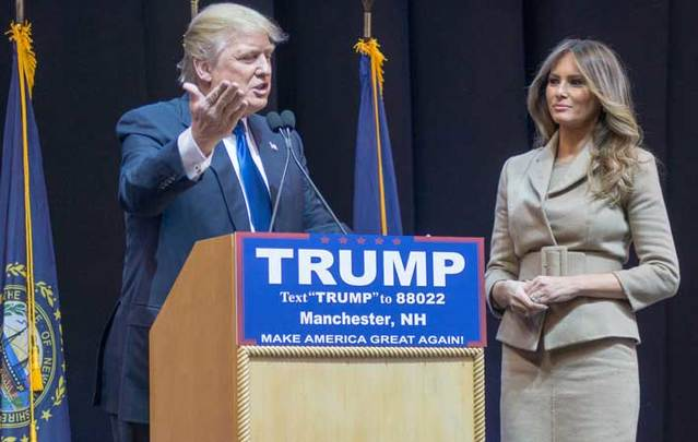 Donald and Melania Trump in New Hampshire.