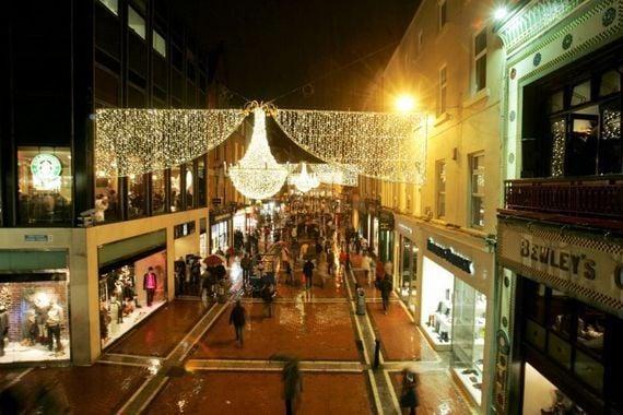Grafton Street in Dublin under the Christmas lights.