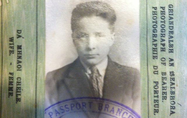 My grandfather\'s passport from when he left Ireland. Decades later there would be a parallel universe of relatives wondering if they\'d ever meet us or see my grandfather again.