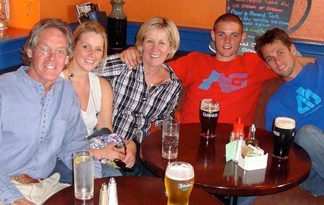 The O'Brien clan at a tavern on the Dingle Peninsula, West Coast of Ireland, August 2010 (from left) Greg, daughter Colleen, wife Mary Catherine, and sons Conor and Brendan.