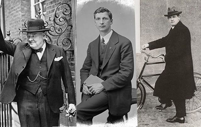 Winston Churchill, Eamon de Valera and Michael Collins.