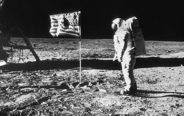 Buzz Aldrin with the American flag on the moon, July 20, 1969.