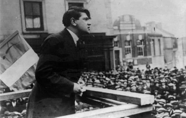 Michael Collins addressing throngs of people in Cork on St. Patrick\'s Day, March 17, 1922.