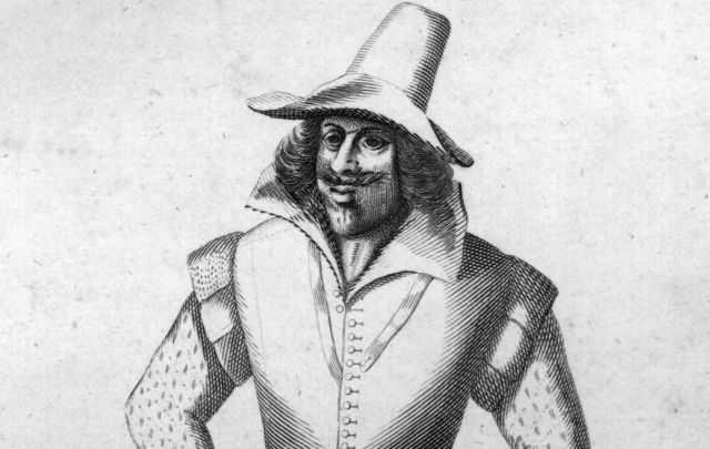 Guy Fawkes - English conspirator in the gunpowder plot to destroy the Houses of Parliament.