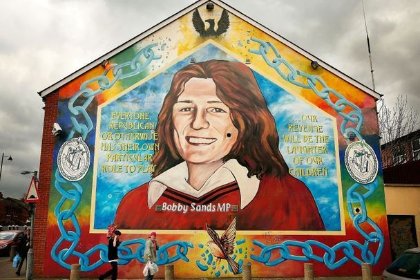 Bobby Sands mural in Belfast: The Hunger Striker who died in 1981.