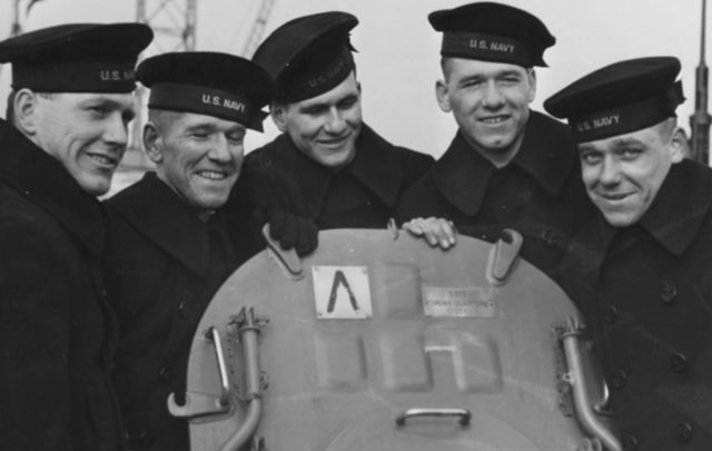 Sullivan brothers on USS Juneau (Joseph, Francis, Albert, Madison and George Sullivan: from left to right)