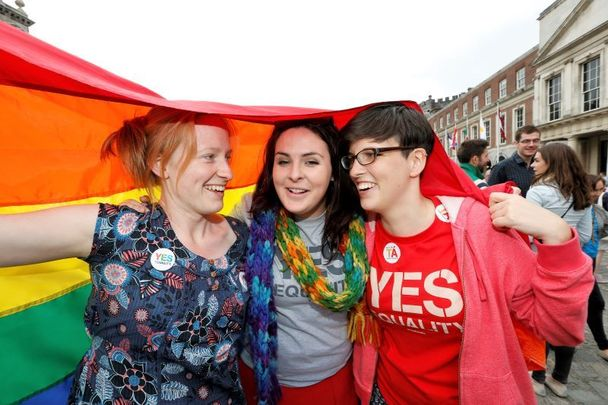 People celebrate the Yes Result in the Marriage Equality Referendum in Dublin Castle Courtyard on May 23, 2015.