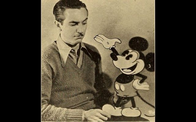 "Walt Disney and his cartoon creation ""Mickey Mouse,\"" from National Board of Review Magazine in October 1931."