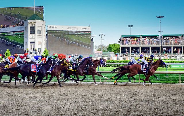 Horses in full gallop at the Kentucky Derby.