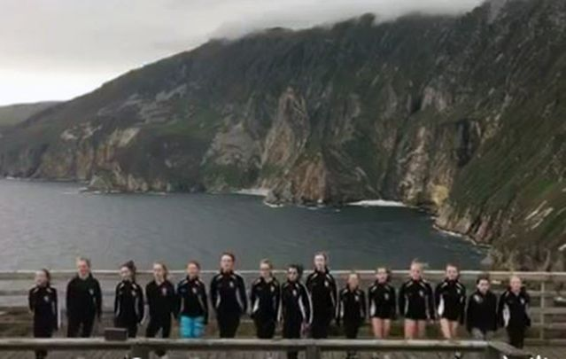 Taylor Scanlon School of Irish Dance round off three weeks in the Gaeltacht with a performance on the Slieve League cliffs.