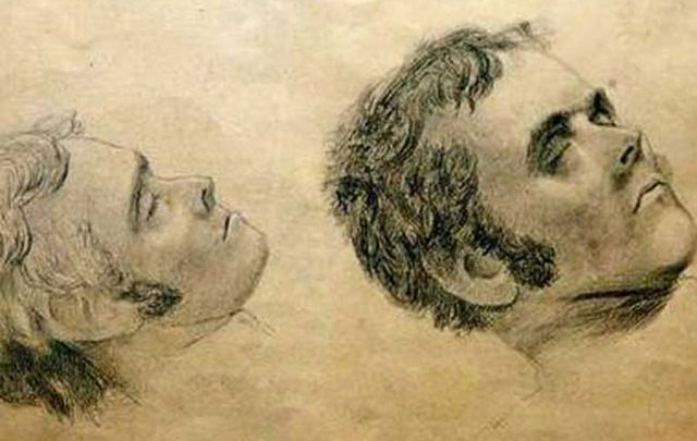 Sketches of the face of Alexander Pearce after his execution by Thomas Bock.