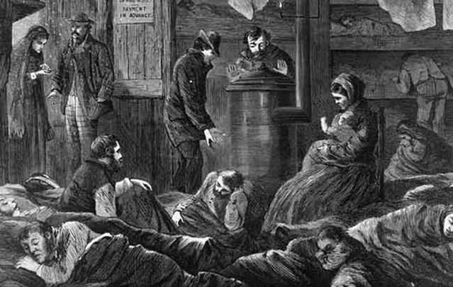 New York poorhouse on Greenwich Street: Irish-born immigrants who elderly, insane or dependent on substances were reliant on charity.