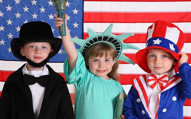 Kids dressed up for July 4.