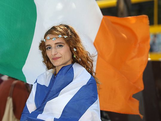 Katerina Efstathiou from Greece, living in Dublin, joined protesters from the Greece Solidarity Movement who held a protest on Saturday in Dublin in solidarity with the Greek people.