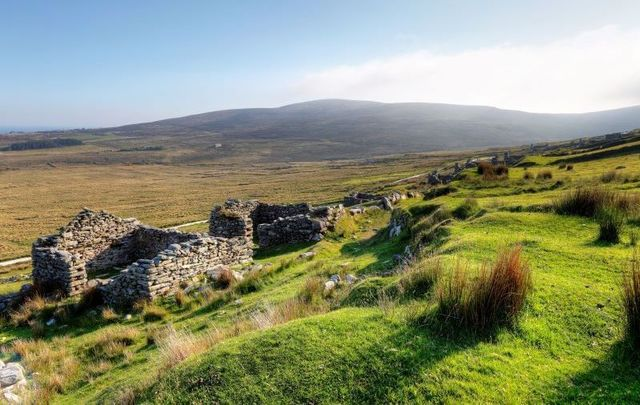 The deserted village of Slievemore, on Achill Island, is one of Ireland\'s historic ghost villages.