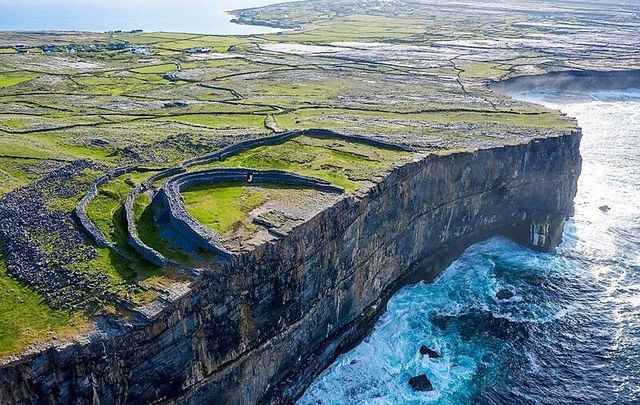 An aerial view of Dun Aengus, Inishmore, Aran Islands, Co Galway