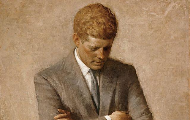 Portrait of President John F Kennedy deep in thought.