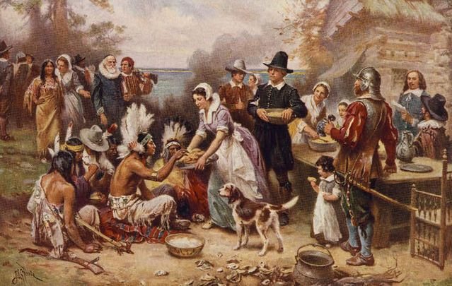 "A painting by JLG Ferris, ""The First Thanksgiving"": A band of starving pilgrims at Plymouth Rock were saved at the last minute by the arrival of a ship from Dublin."