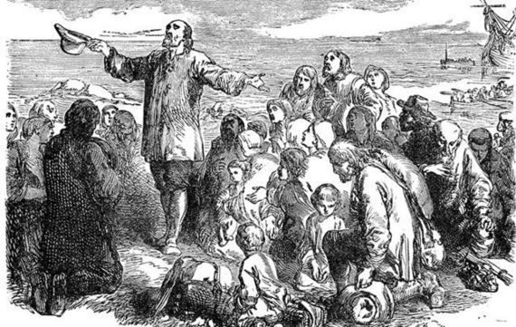 Depiction of Pilgrims during the first Thanksgiving.