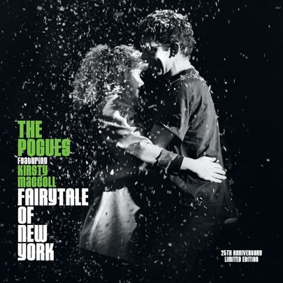 Kristy MacColl and Shane MacGowan photographed for the front cover of The Pogues\' Fairytale of New York.