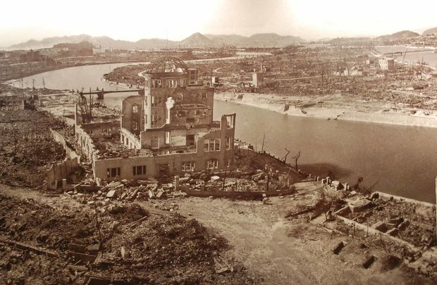 The atomic cloud floating over Hiroshima, Japan, in WWII.