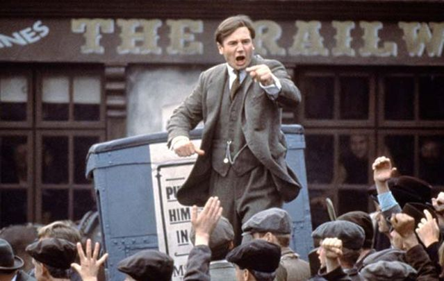 "Liam Neeson riling up the crowds as ""The Big Fella"" in ""Michael Collins."""