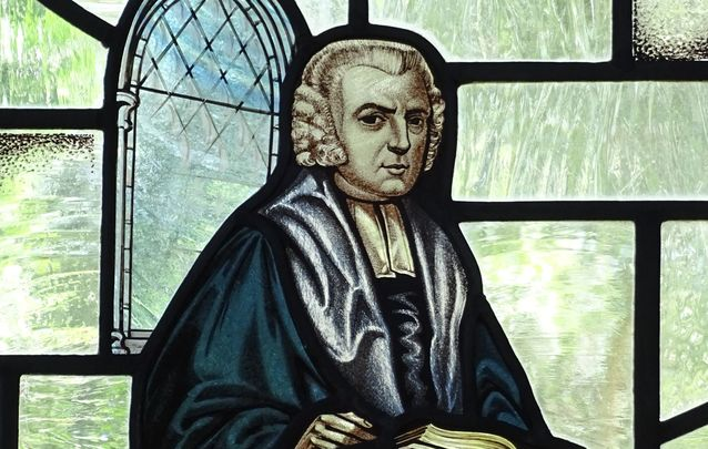 Stained-Glass Image of John Newton, Amazing Grace Writer, St. Peter and Paul Church, Olney, Buckinghamshire, England.