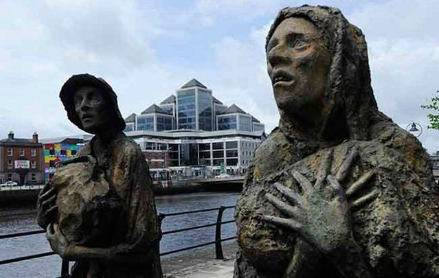 A close up of the Famine memorial statues, by Rowan Gillespie, along the River Liffey.