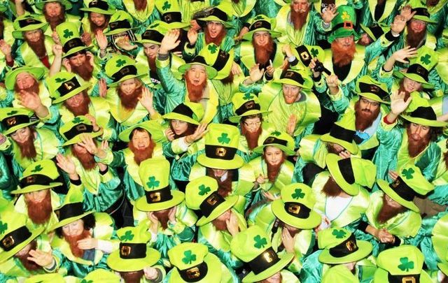 A gathering of people dressed as leprechauns in Dublin in 2011.