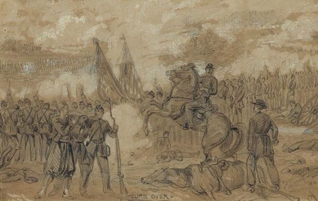 The Battle of Gaines Mill, 1862, where Bernard Quinn and other US regulars excelled.