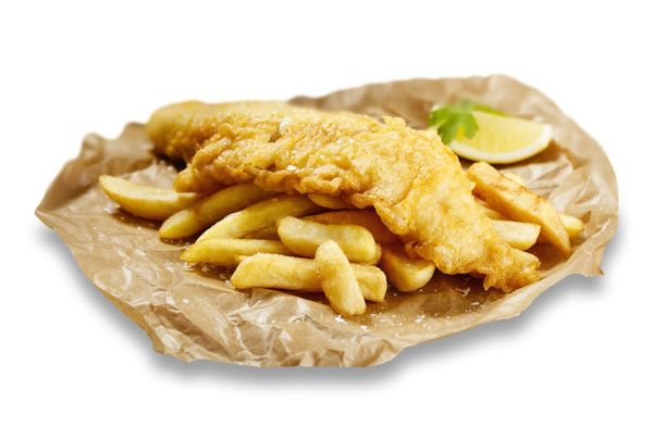 A delicious Irish favorite: Guinness-battered fish with chips.