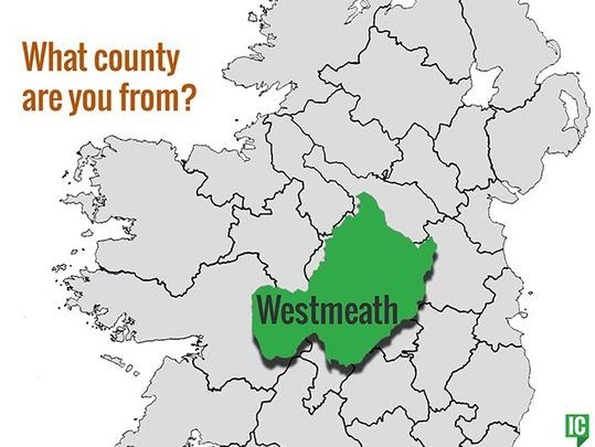 Westmeath Ireland Map.What S Your Irish County County Westmeath Irishcentral Com