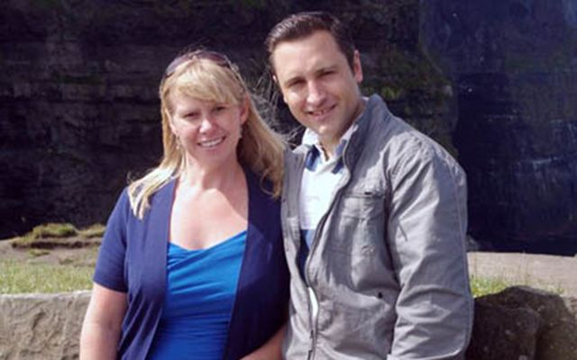 Daniel Clavins, 37, with long-suffering wife Susan. Clavins woke one morning with the hiccups and hasn't stopped since.