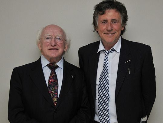 Ireland\'s President Michael D Higgins photographed with Presidential Distinguished Service Award recipient Gabriel Byrne.