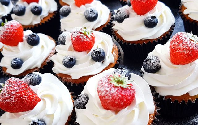 Happy Fourth of July! Red, white and blue cupcakes, a delicious sweet summer treat.