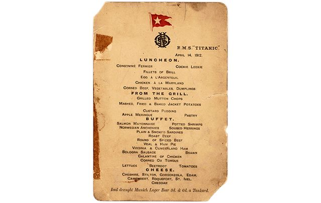 An unknown buyer took home a lunch menu detailing the lavish lifestyle of the Titanic's first class passengers.