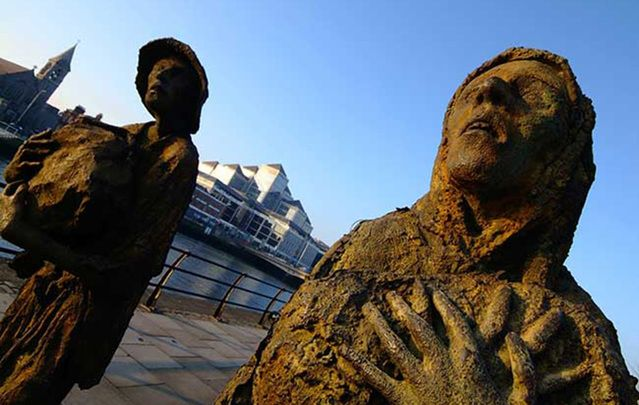 Rowan Gillespie\'s Great Hunger memorial on the north Liffey quays in Dublin.