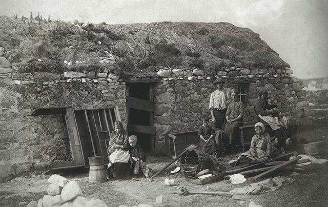 Part of Sean Sexton's Irish collection, photo of an eviction in Derrybeg, County Donegal, circa 1888.