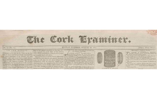 The first edition of The Cork Examiner, August 30, 1841