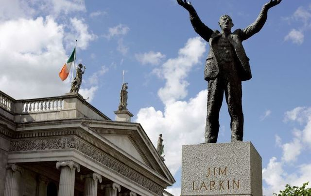 Irish labor activist Jim Larkin is memorialized with a statue on Dublin\'s O\'Connell Street