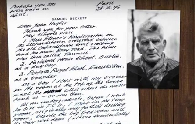 """Irish legend Samuel Beckett wrote to a schoolboy """"If you ever meet my ghost in house or grounds, give it my regards."""""""