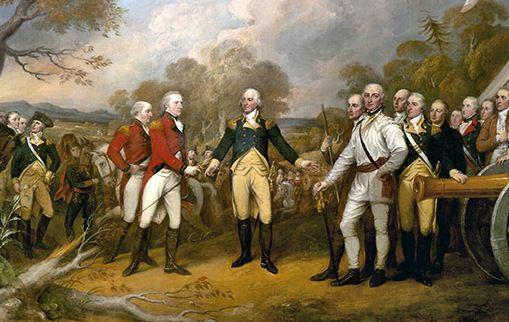 The surrender of General Burgoyne to George Washington in Saratoga.