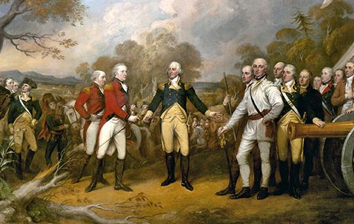 The surrender of General Burgoyne to George Washington in Saratoga.