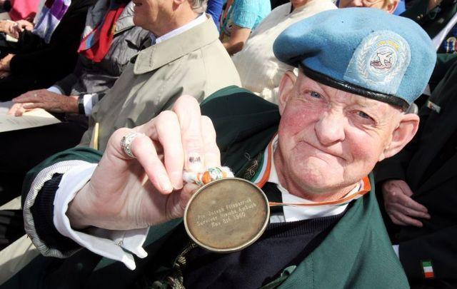 12/7/2009. Dublin native Joe Fitzpatrick, survivor of the Niemba Ambush 1960, is pictured at the National day of commemoration at the Royal Hospital Kilmainham Dublin.