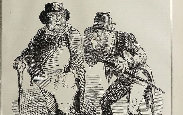 "A Punch cartoon: An Irish beggar approaches John Bull: ""Spare a thrifle, yer Honour, for a poor Irish lad to buy a bit of…a Blunderbuss with."""