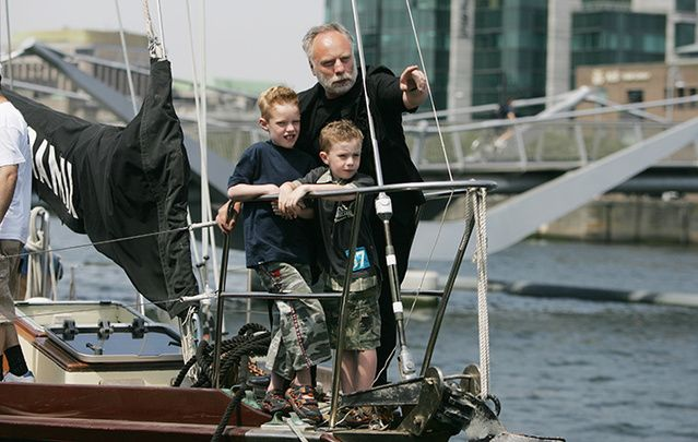 Former hostage Brian Keenan with his sons Jack and Cal on bord the Faramir at Dublin Docks at the launch of the SPIRASI`s 2006 Tall Ship Challenge Against Tortue.