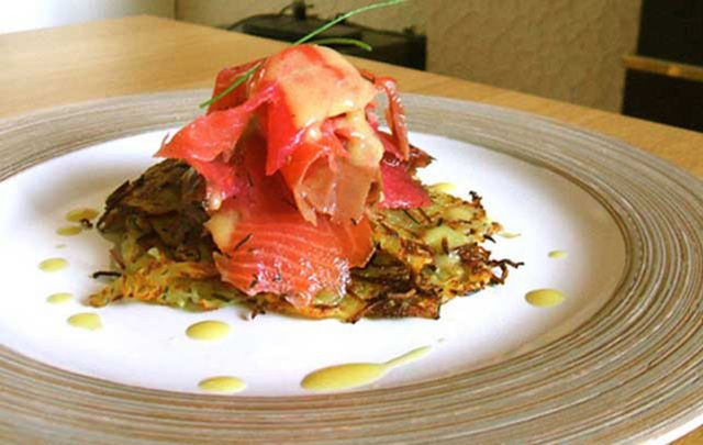 A quick and easy Irish smoked salmon over potato boxty pancakes recipe that's sure to impress.