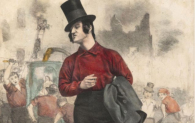 A Bowery Boy in the street fashions of the 1860s.