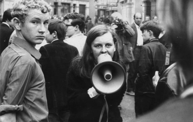 Independent Unity MP for Mid-Ulster and youngest MP in Britain Bernadette Devlin in Derry during the Battle of the Bogside, 1969