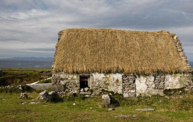 An Irish thatched cottage.